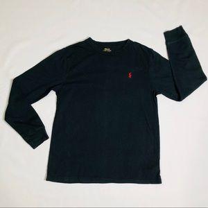 Boys long sleeve black polo shirt size large